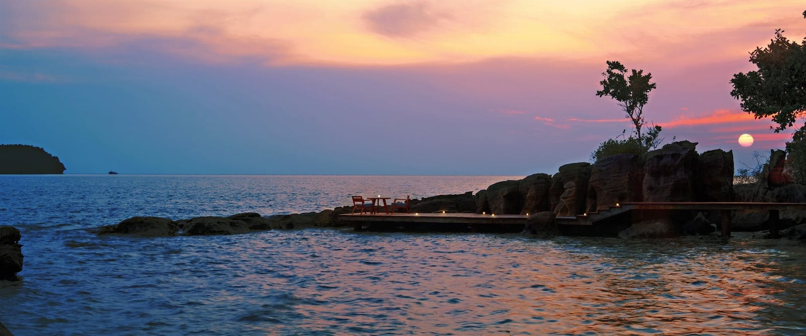 The Boardwalk at Sunset at Six Senses Krabey Island, Cambodia