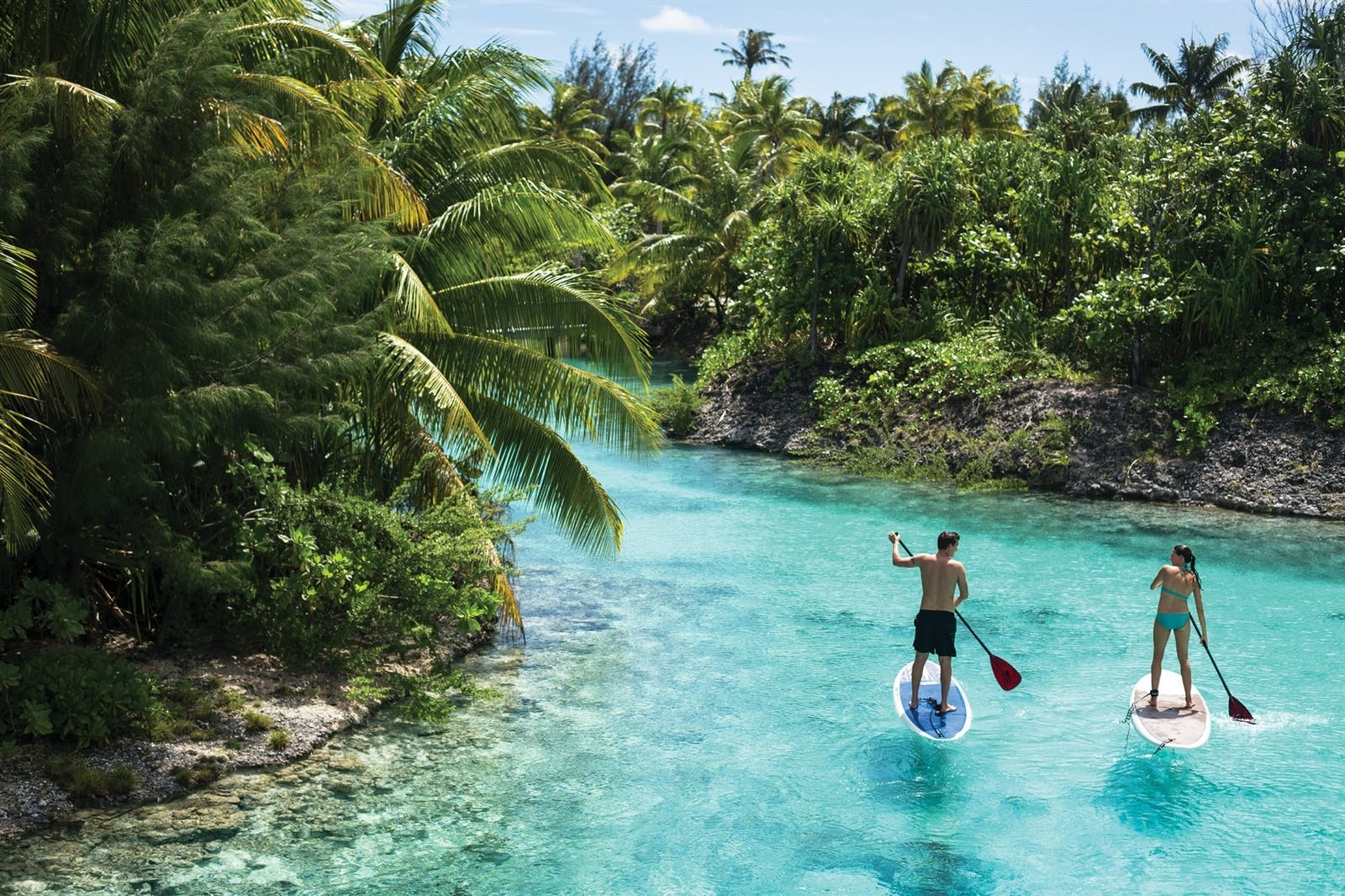 River paddling activity at Four Seasons Bora Bora Resort, French Polynesia