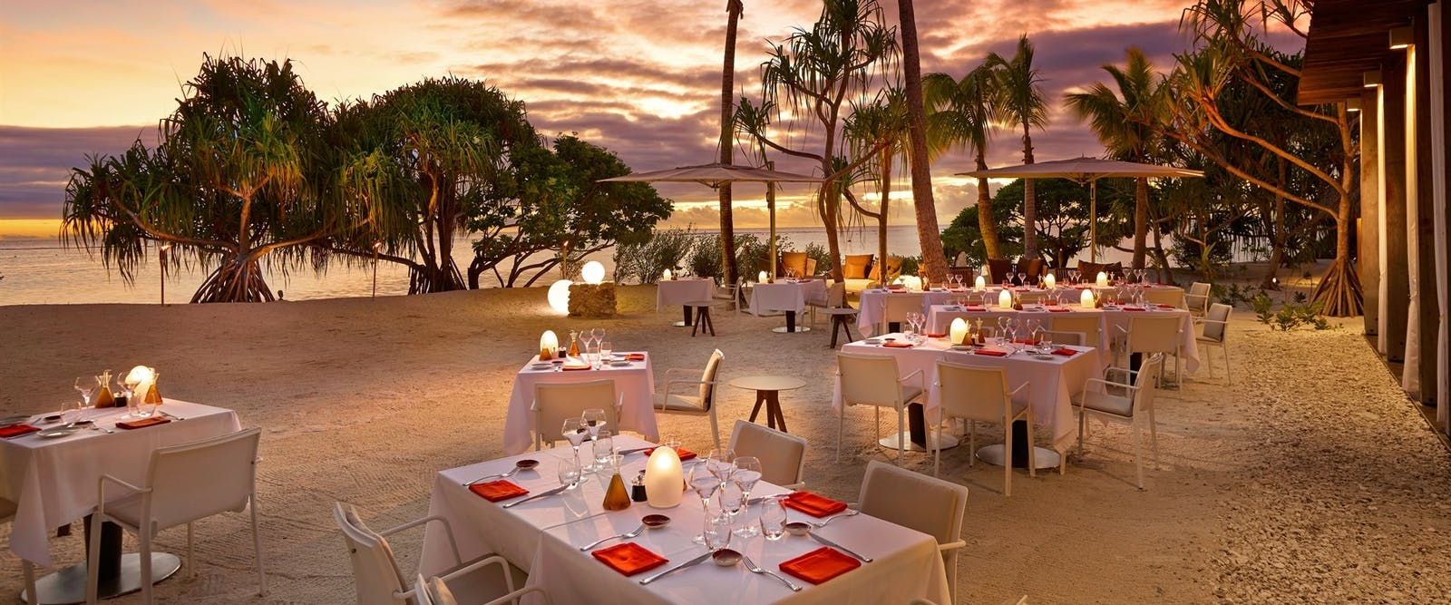 Restaurant beach dining at The Brando, Tahiti, French Polynesia