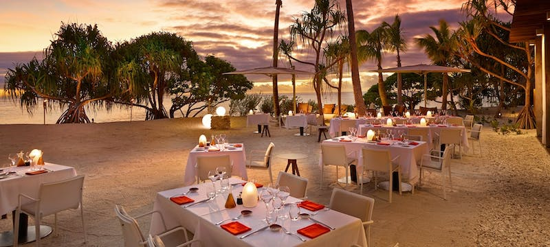 Restaurant beach dining at The Brando, Tahiti