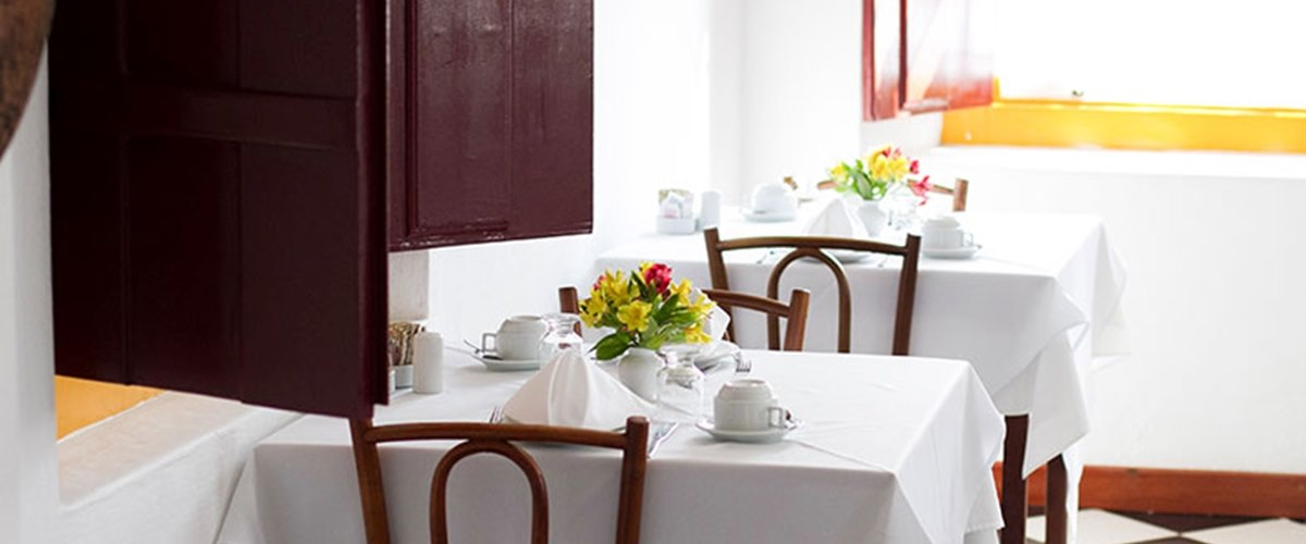Breakfast buffet setting at Pousada do Ouro, Brazil