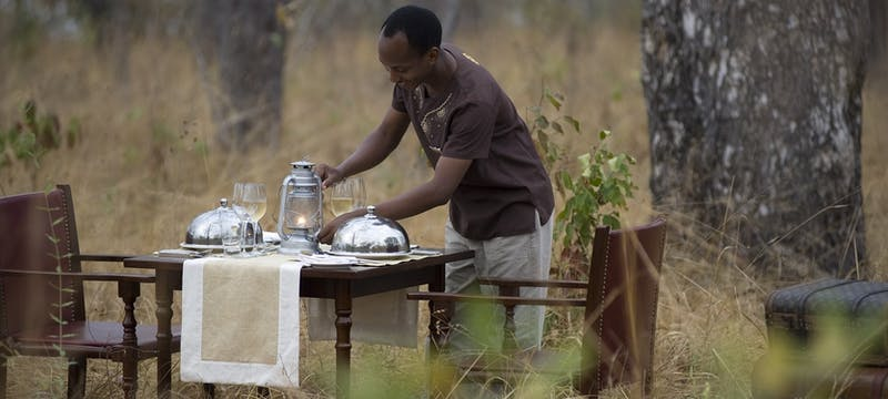 Dining in the bush at Selous Serena Camp