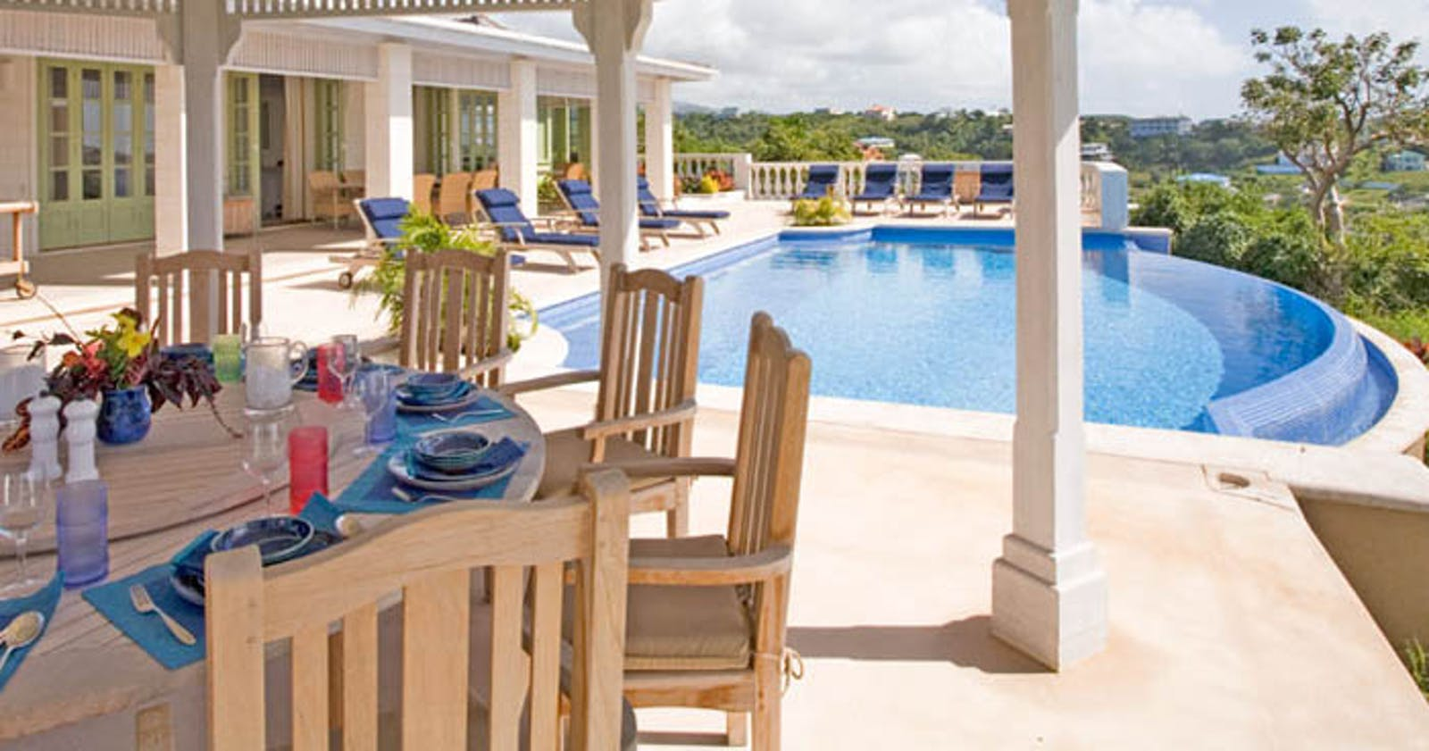 Lunch Table and Pool View at Calabash Villa, Grenada