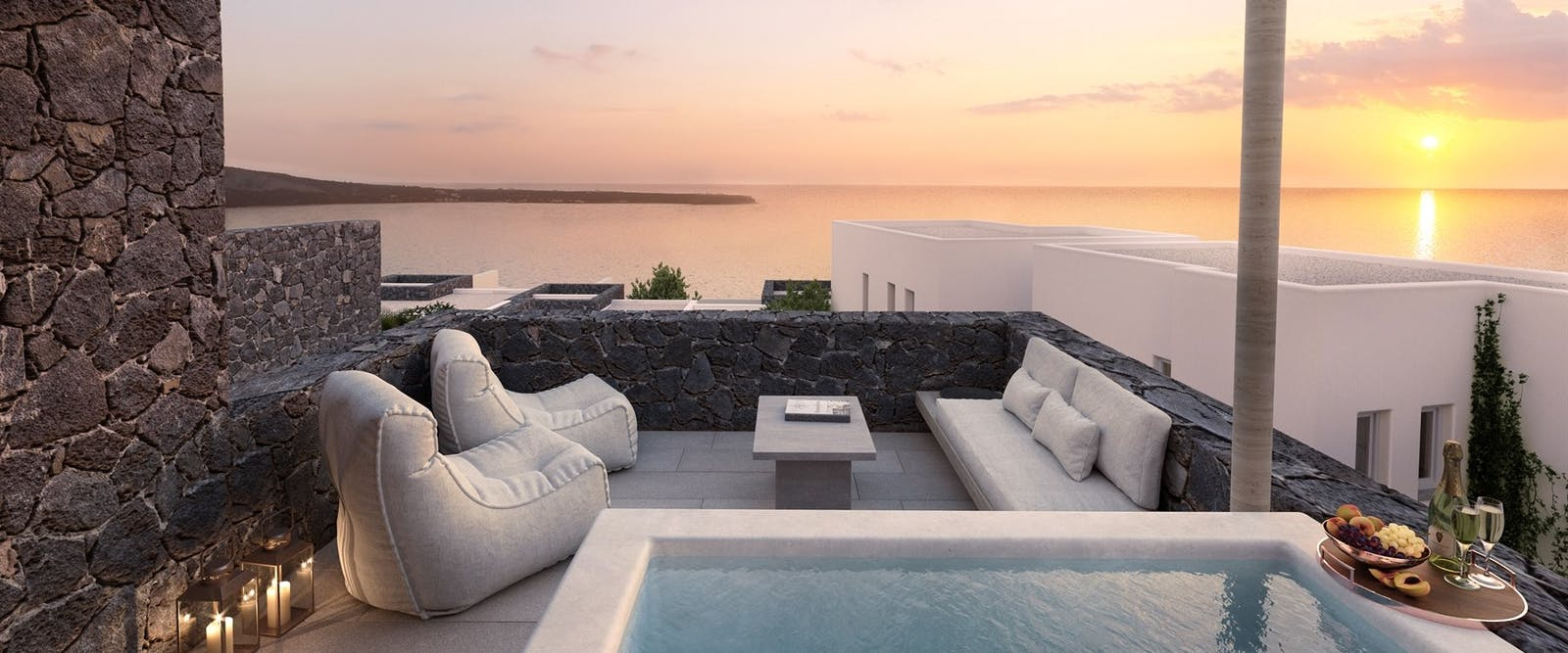 Private Terrace at Canaves Oia Epitome, Santorini, Greece