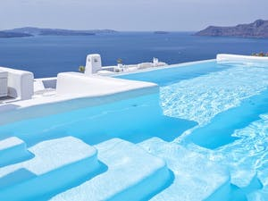 Pool Area at Canaves Oia Hotel, Santorini, Greece