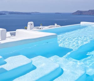pool area at canaves oia hotel santorini