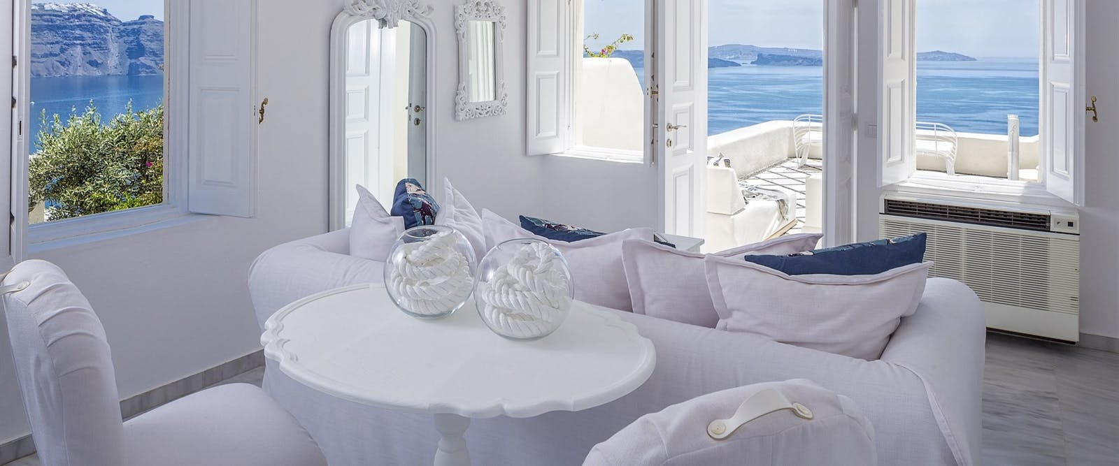 Suite Living Room at Canaves Oia Hotel, Santorini, Greece