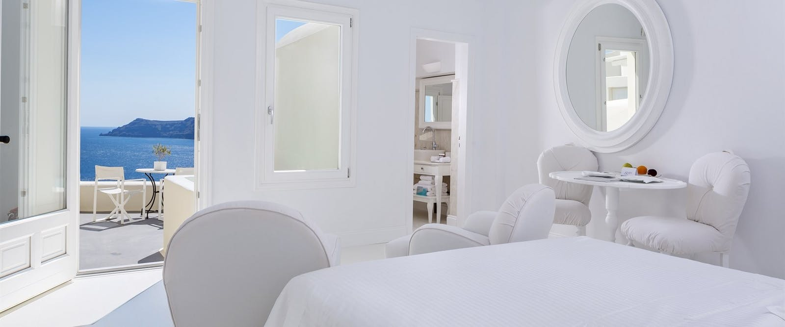 Bedroom with Terrace at Canaves Oia Hotel, Santorini, Greece