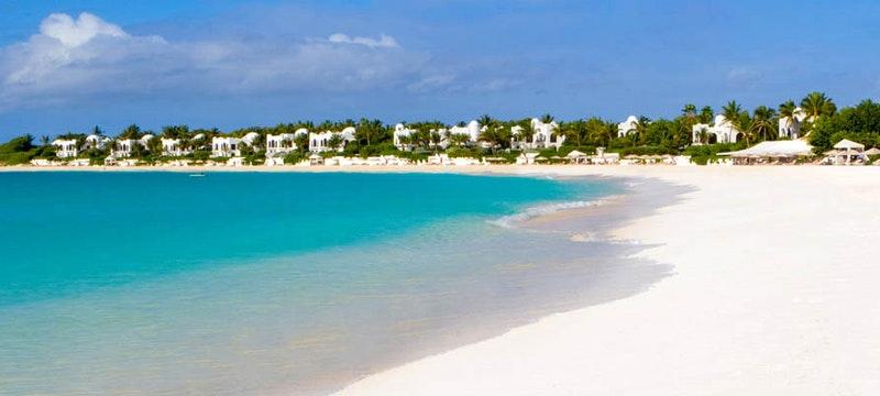 Pristine white sand beach at Cap Juluca, Anguilla
