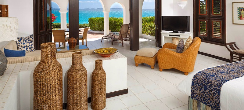 In-room dining on the private terrace at Cap Juluca, Anguilla