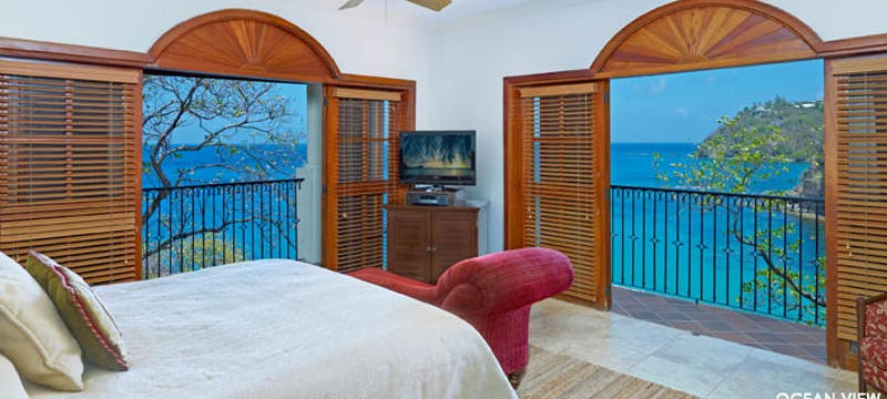 Bedroom to Ocean View Villa Suites at Cap Maison, St Lucia