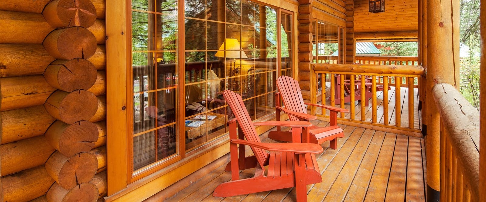 Lodge deck area at Cathedral Mountain Lodge, British Columbia