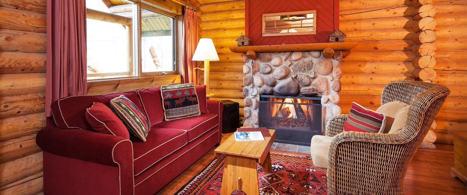 Living room area in lodge at Cathedral Mountain Lodge, British Columbia