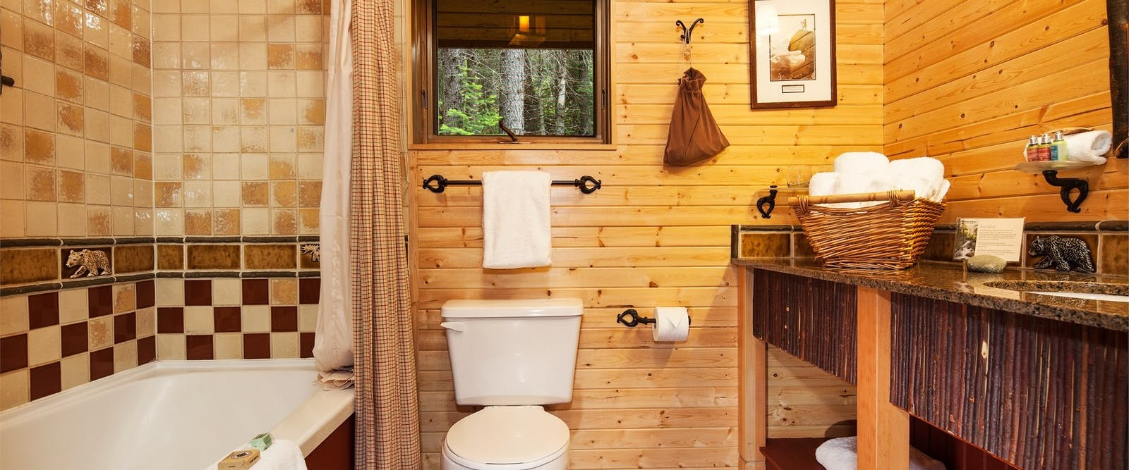 Lodge bathroom at Cathedral Mountain Lodge, British Columbia