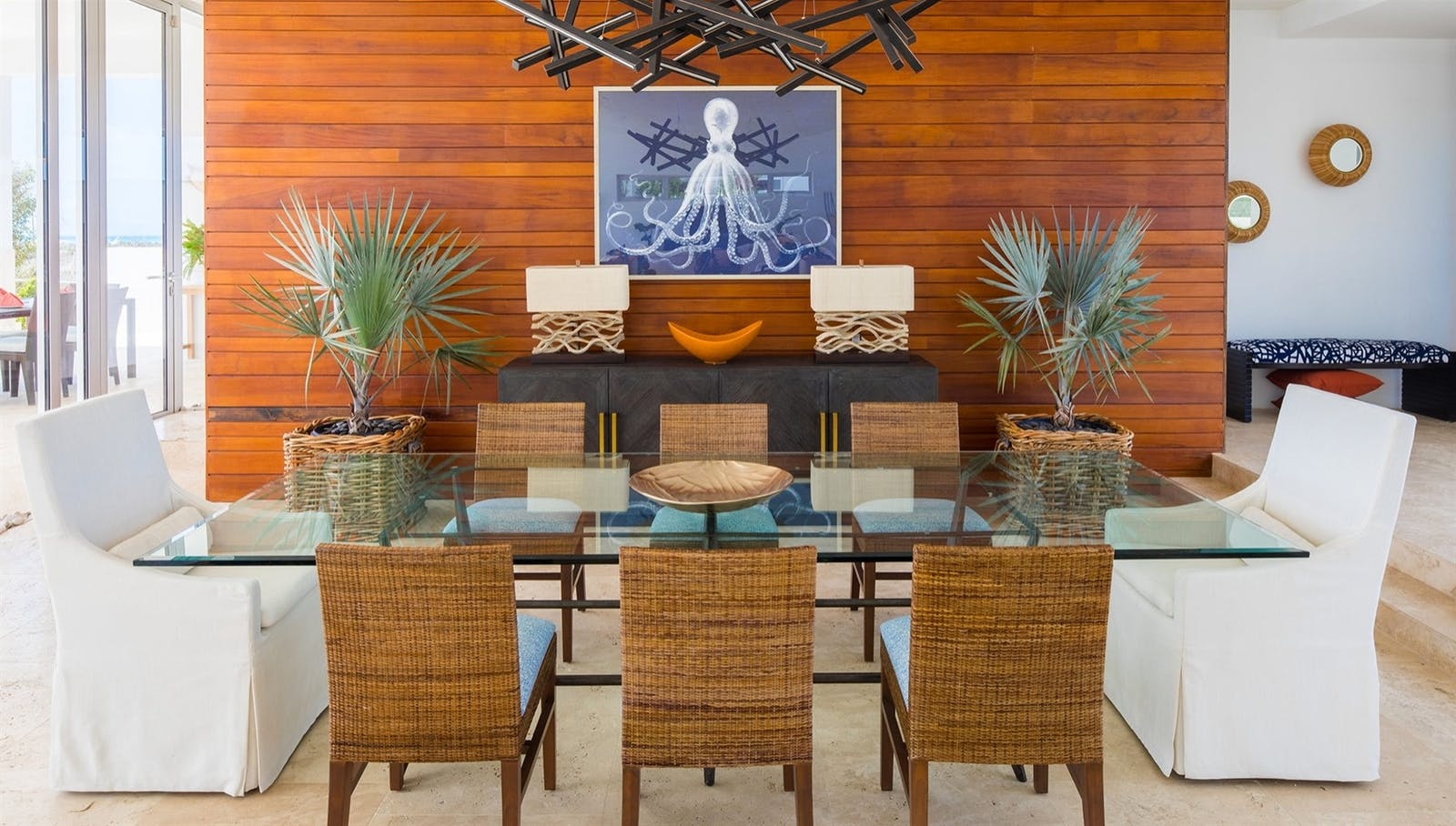 dining area at champagne shores the villa anguilla