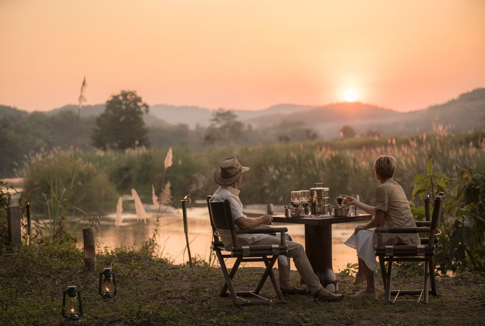 sundowners at four seasons tented camp golden triangle