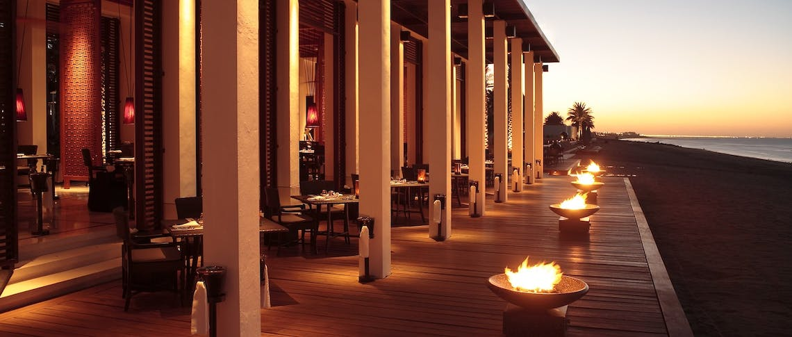 The beach restaurant at The Chedi Muscat, Oman
