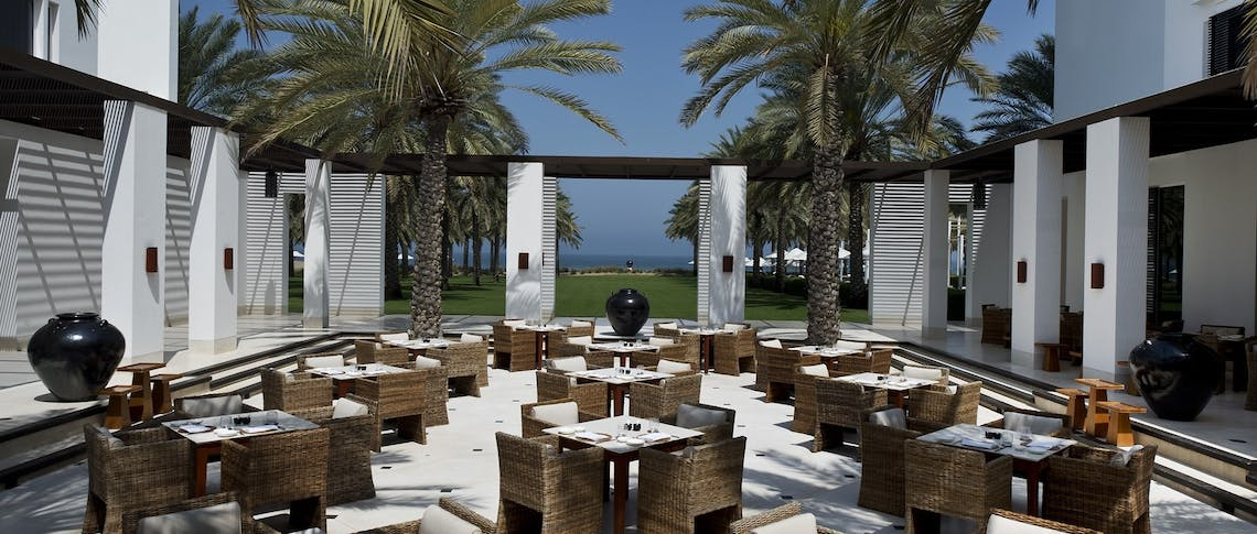 The restaurant courtyard at The Chedi Muscat, Oman