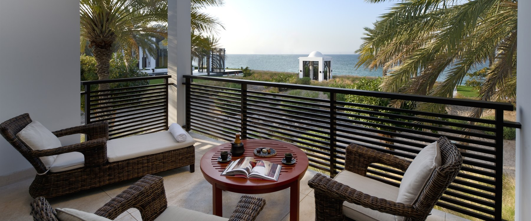 Chedi club suite terrace with ocean view at The Chedi Muscat, Oman