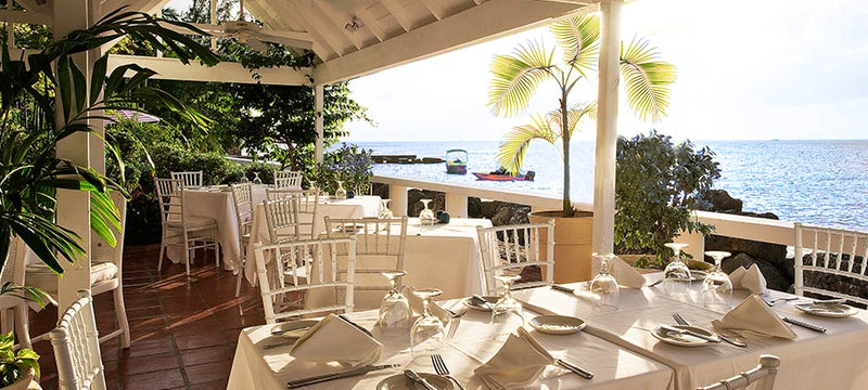 The ocean-front Camelot Restaurant at Cobblers Cove, Barbados