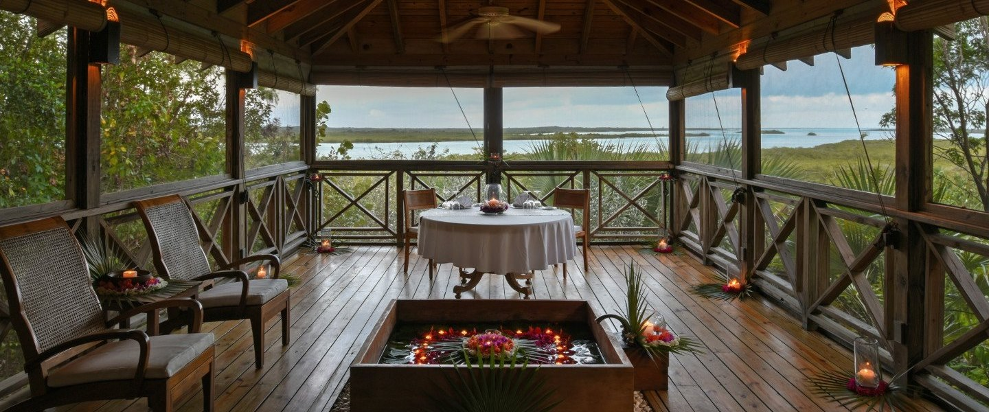 Shambhala retreat cottage dining experience at COMO Parrot Cay, Turks and Caicos