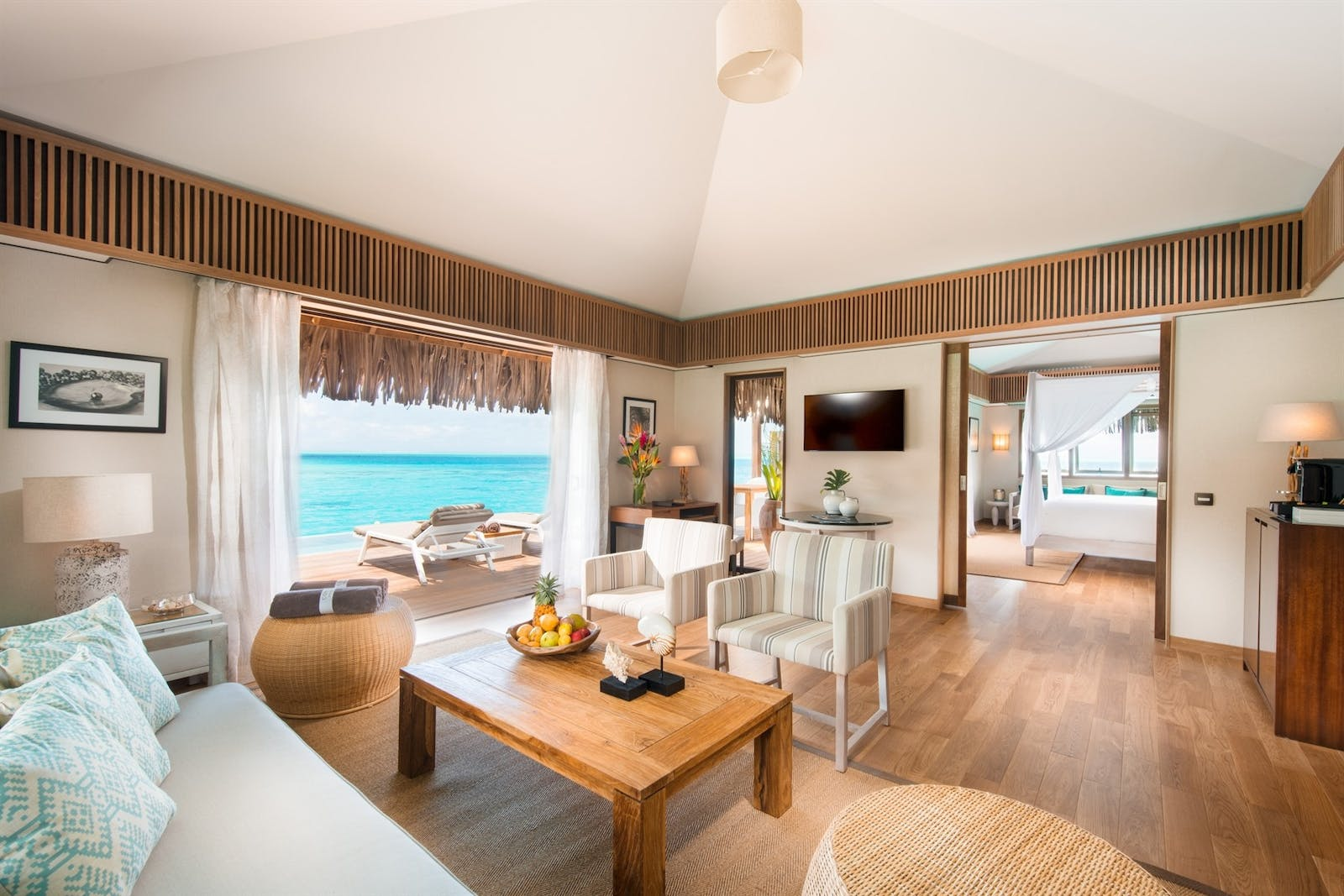 Royal Suite Living Area at Conrad Bora Bora Nui, French Polynesia