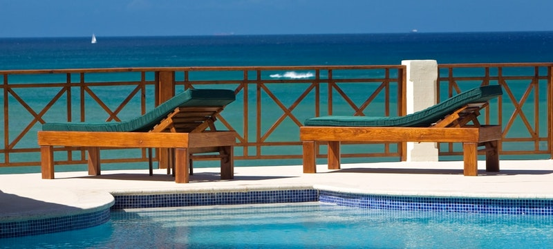 Pool area overlooking the ocean at Calabash Cove, St Lucia