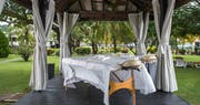Outdoor spa pavilion at Coyaba Beach Resort, Grenada