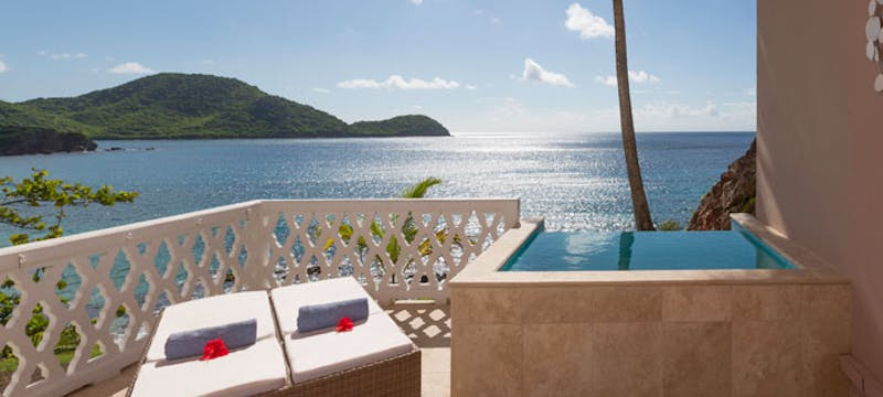 The terrace in the Cliff Suite at Curtain Bluff, Antigua