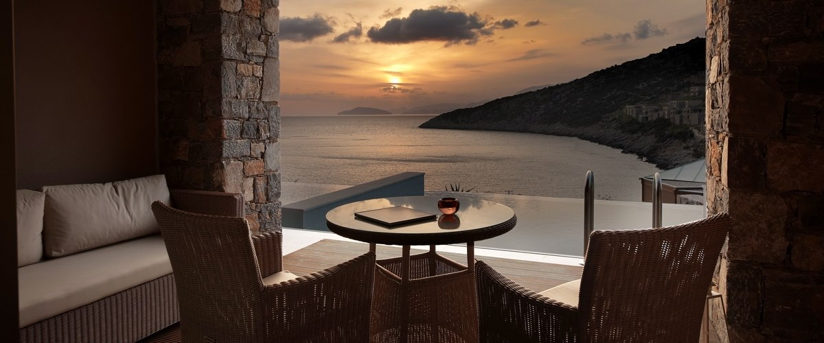 Sunset in room at Daios Cove, Crete, Greece