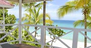 Balcony view from the deluxe beachfront bedroom at Galley Bay Resort & Spa, Antigua