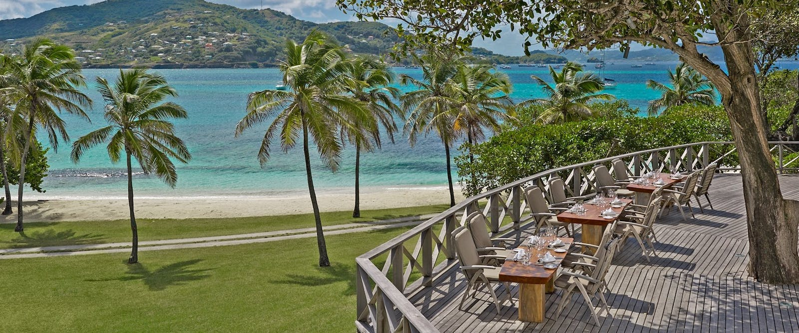 Al fresco dining at Petit St. Vincent