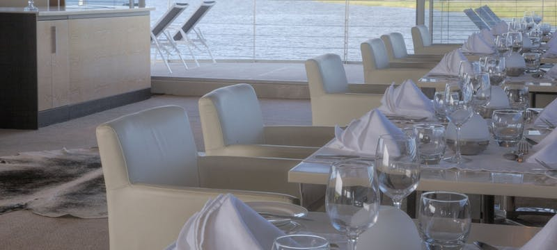 Dining area at Zambezi Queen