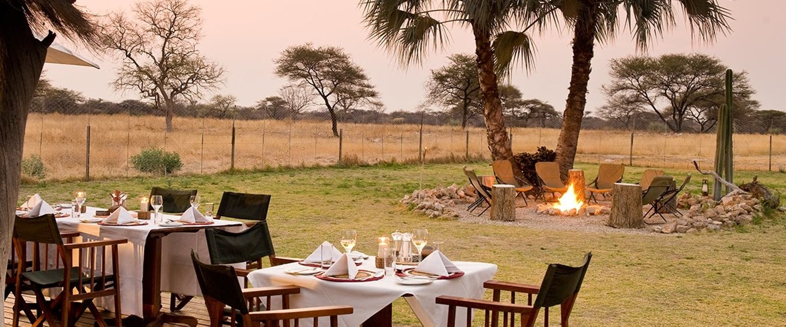 Dining area in Bush Camp at Onguma Private Game Reserve