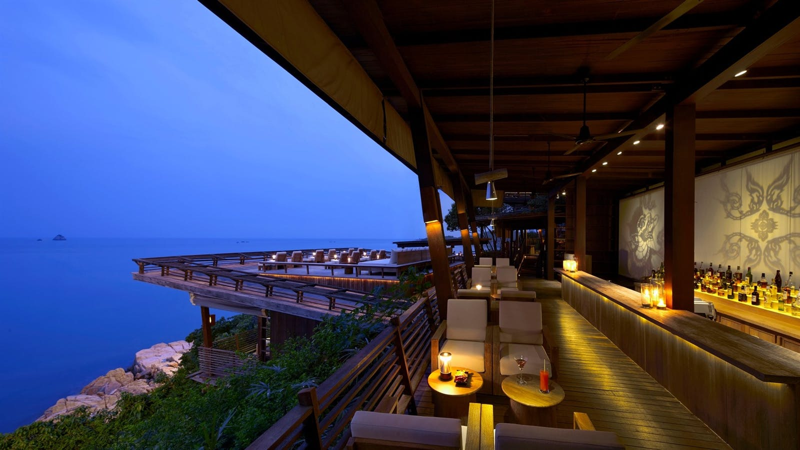 Dining on the Rocks bar area, Six Senses Samui, Koh Samui, Thailand
