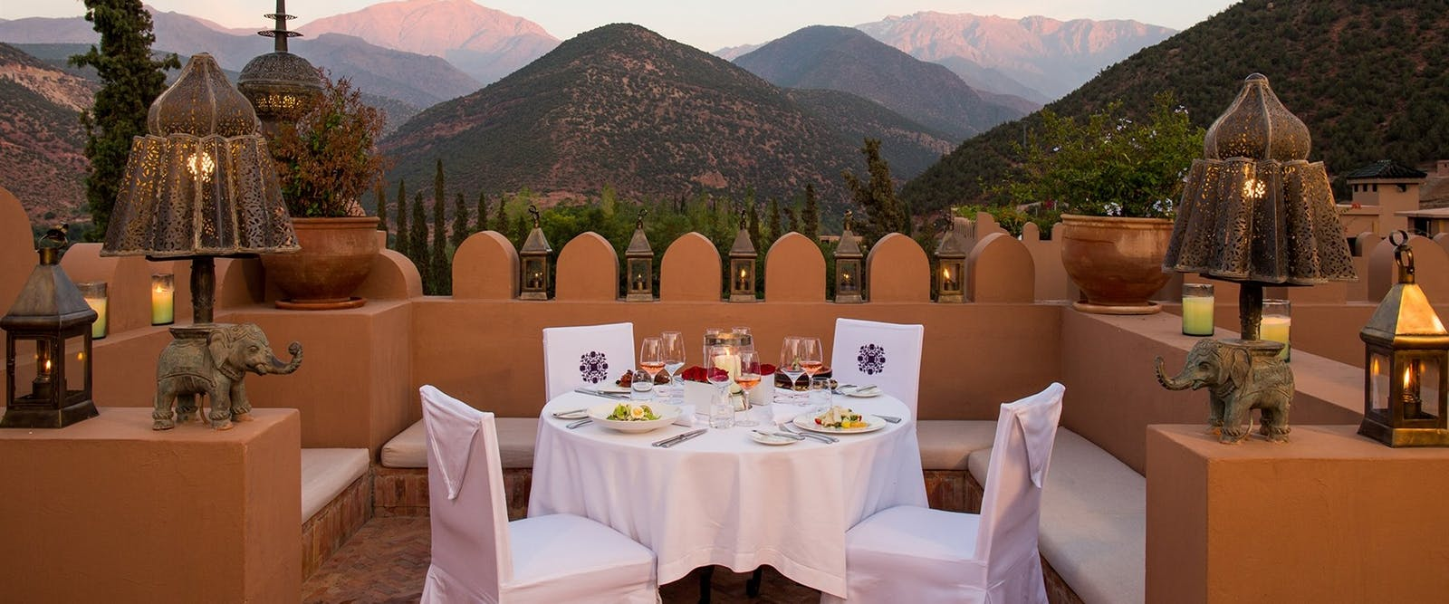 Dinner on Roof Terrace at Kasbah Tamadot, Marrakech, Morocco