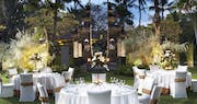 Dinner set up at the temple garden at The Laguna, A Luxury Collection Resort & Spa