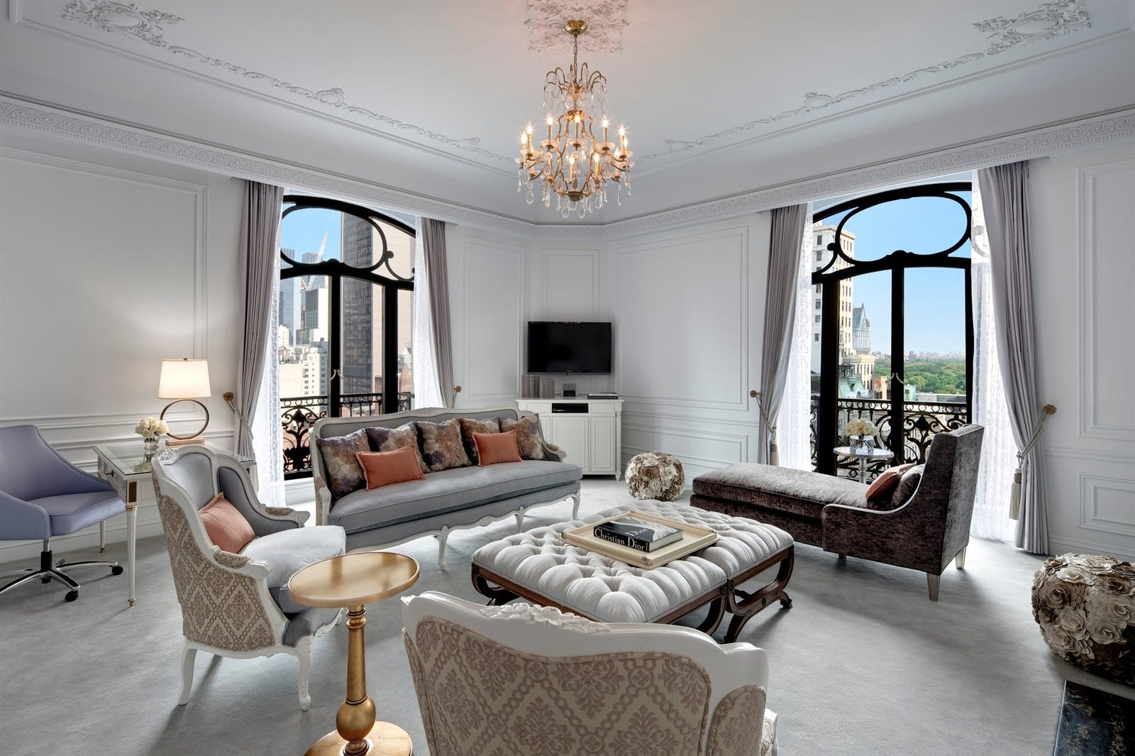 dior suite living room at the st regis new york