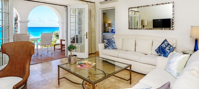 Living room area in private villa at Belmond La Samanna, St Martin