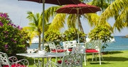 Table setting with stunning views at The Inn at English Harbour, Antigua