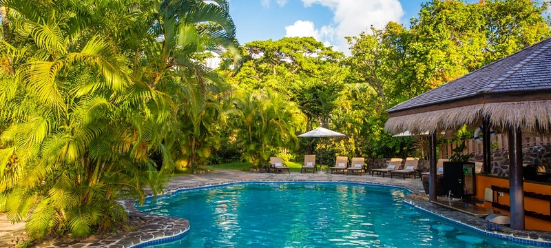 Idyllic pool area at East Winds, St Lucia
