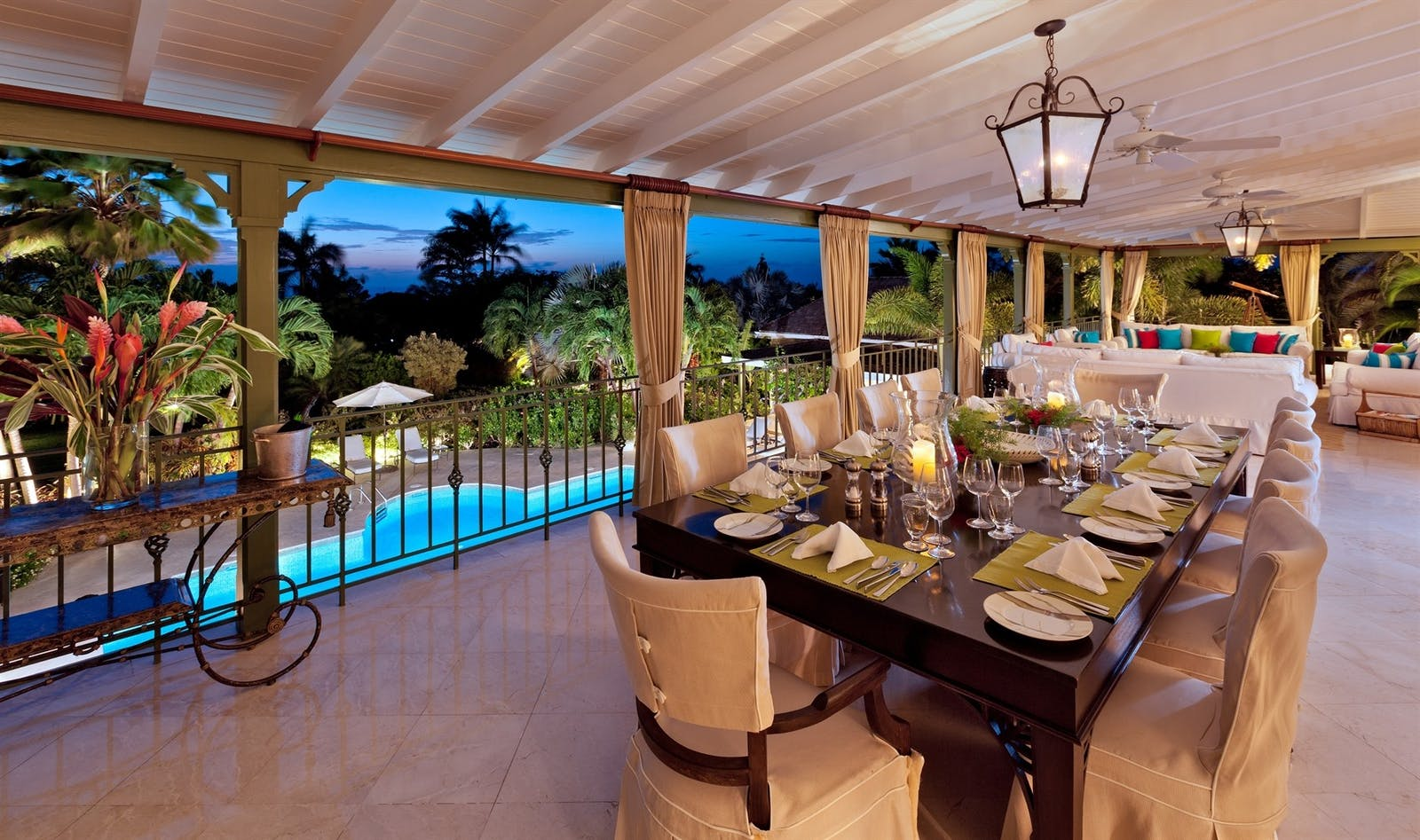 patio dining at eden villa sugar hill barbados