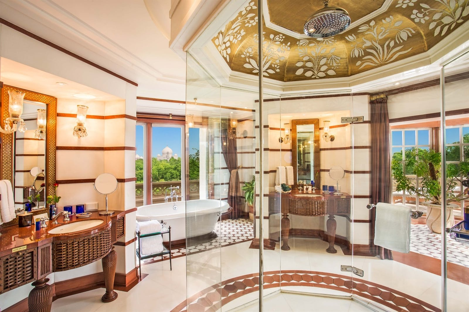 luxury suite bathroom at the oberoi amarvillas agra