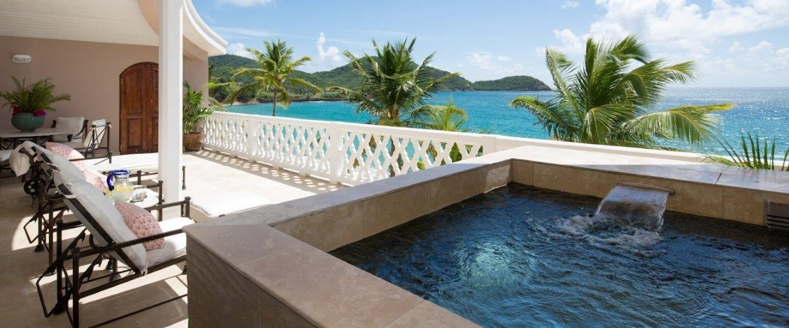Luxurious Suite Terrace with Private Jacuzzi at Curtain Bluff, Antigua