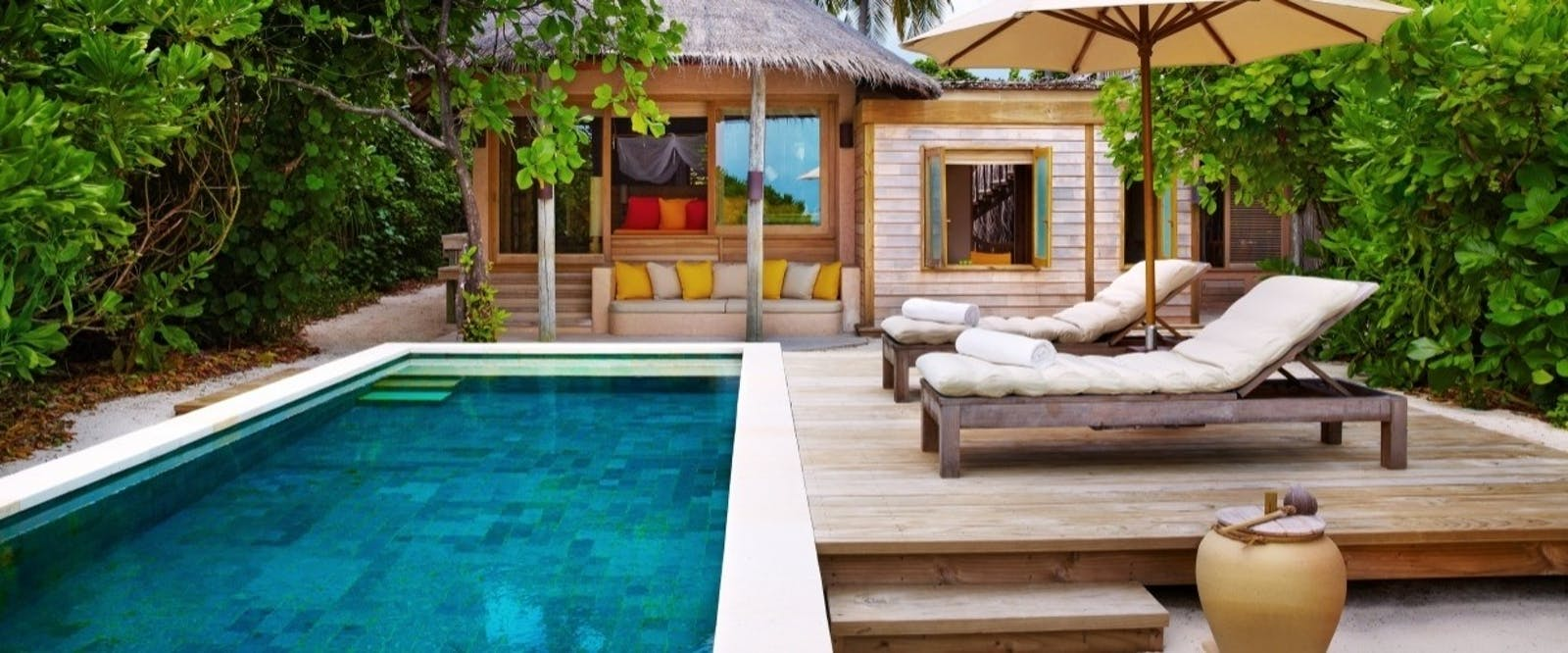 Family Villa with Pool Exterior at Six Senses Laamu, Maldives, Indian Ocean