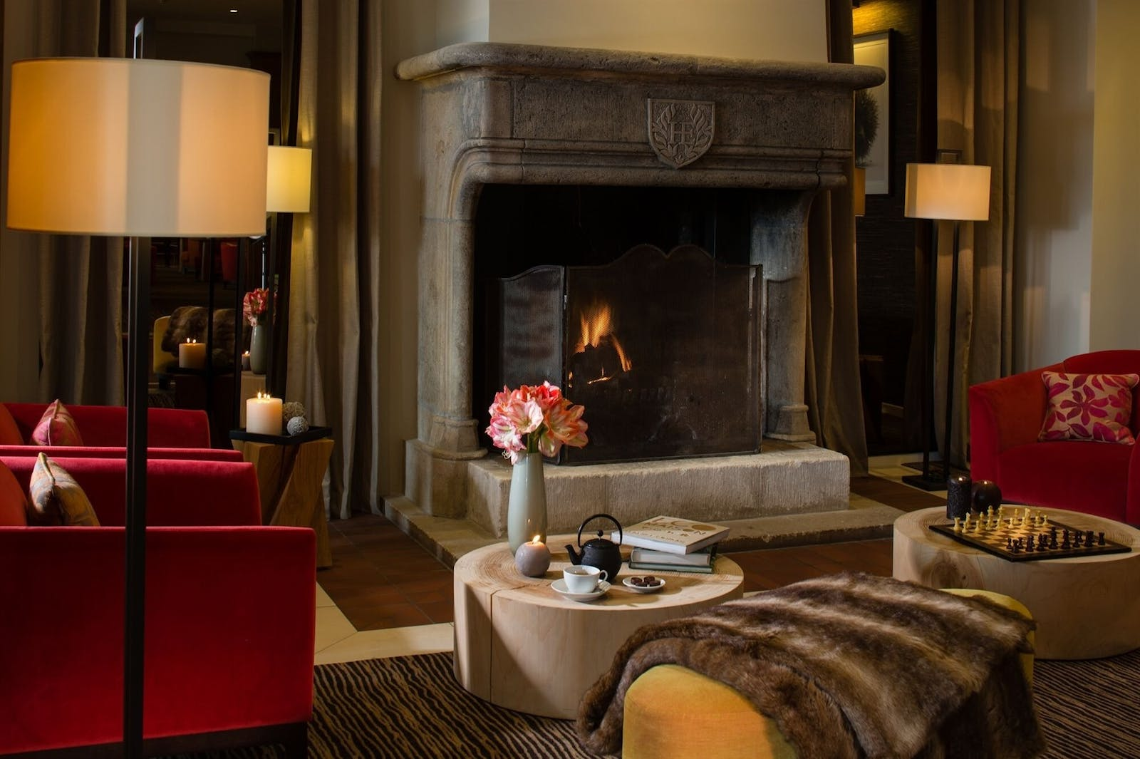 Lobby Fireplace, Hotel Ermitage, Evian Resort, Lake Geneva, France