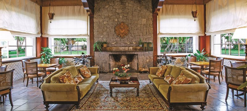 Lounge with fireplace at Belmond Das Cataratas, Brazil