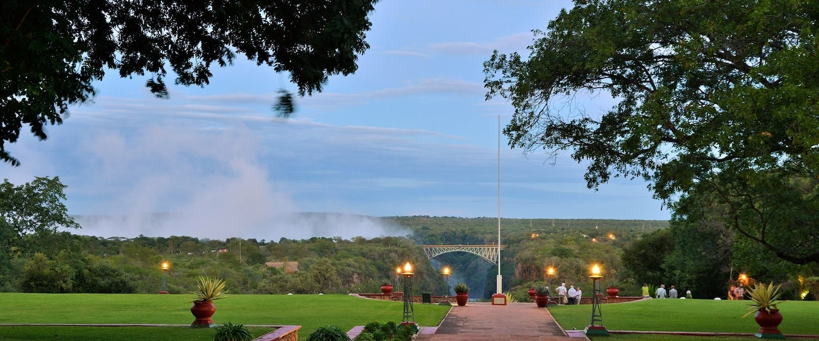 Landscape view of grounds at Victoria Falls Hotel, Zimbabwe