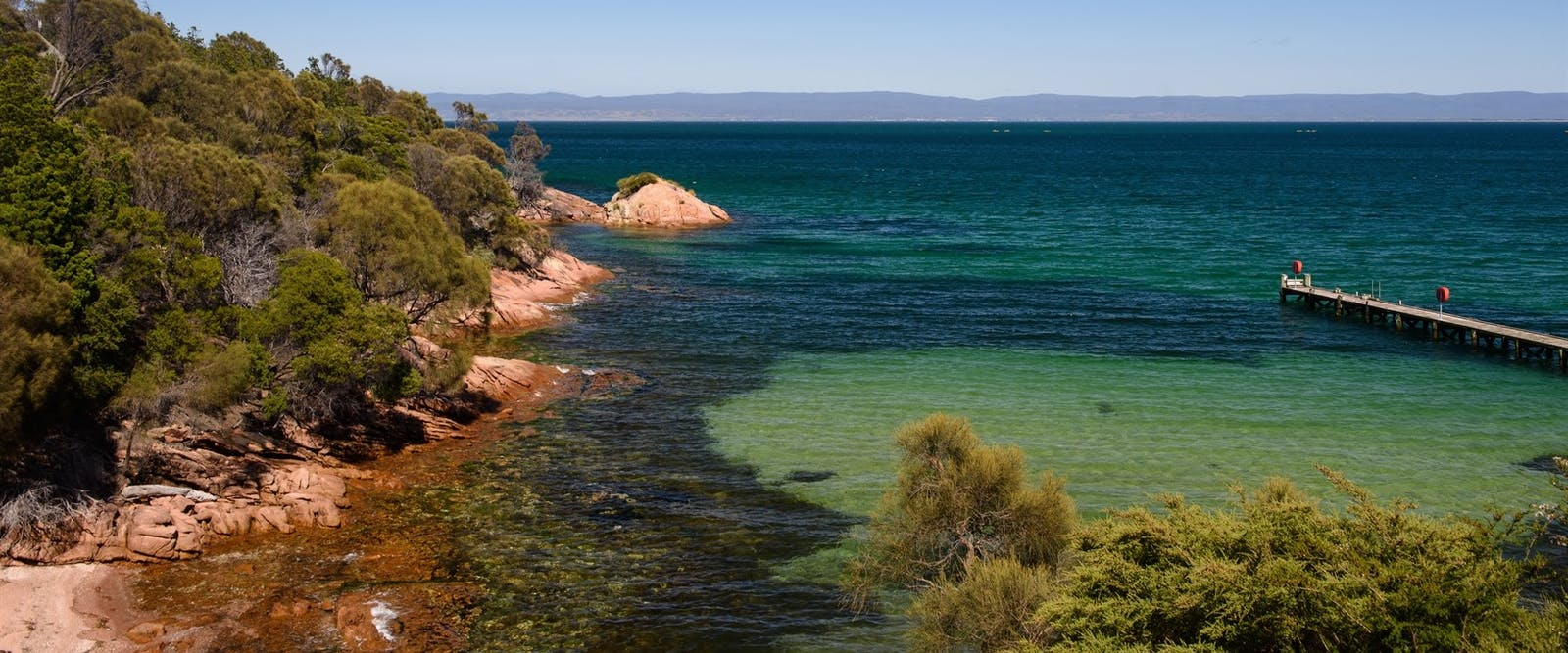 View of great oyster bay from the balcony at freycinet lodge, Freycinet Lodge