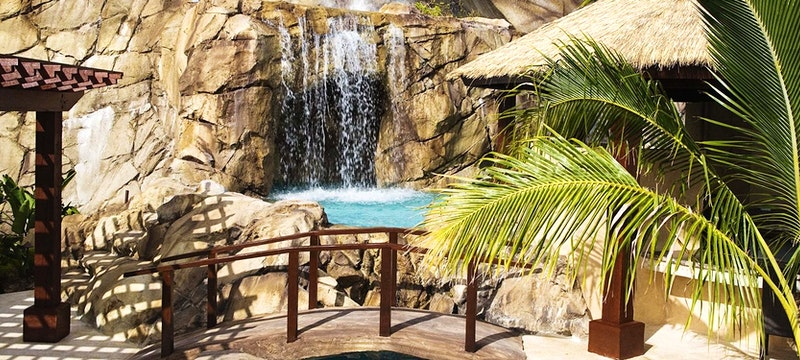 Waterfall within Falcon's Nest Villa at Peter Island Resort & Spa, British Virgin Islands